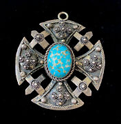 Large Antique 800 Silver Turquoise Brutalist Style Canterbury Cross Pendant