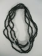 3 Black And Clear Crystal Faceted Bead Necklaces 37