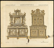 1890 - Mobilier - Buffets Armoires Et Cabinets - Lithographie Ancienne