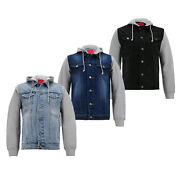 Menand039s Casual Cotton Denim And Jersey Sleeves Trucker Jacket With Removable Hood