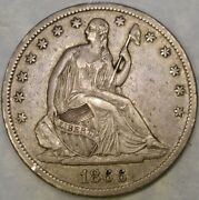 1866 S Liberty Seated Silver Half Dollar Appealing Drapery Feathers Hair Scarce