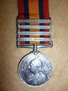 Queenand039s South Africa Medal 1899-1902 With 4 Bars To Canadian Mounted Rifles