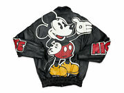 Vintage Mickey Mouse Leather Jacket 90s Disney Bootleg Flawed R8