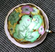 Paragon Creamy Pink Teacup And Saucer Floating Leaves Flowers Heavy Gold Bowl
