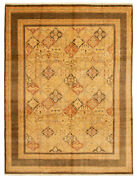 Vintage Hand-knotted Carpet 9and0390 X 11and0399 Traditional Oriental Wool Area Rug