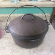 Vintage Antique Griswold Style Cast Iron Dutch Oven W Lid And Handle Good Used