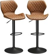 Modern Set Of 2 Pub Chair Bar Stools Counter Height Pu Leather Kitchen Dining