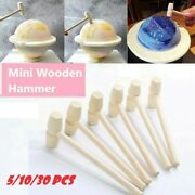 30 Mini Wooden Hammer Kids Toy Small Carving Flat Head Mallets Little Ornaments