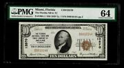 Miami Fl 10 1929 T-1 National Bank Note Ch 13570 Florida Nb And Tc Pmg 64