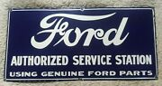Large Reproduction Fantasy Porcelain Sign Ford Authorized Advertising Service