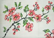 2 Pretty Vintage Red And Pink Dogwood Cherry Blossom Flower Kitchen Towels 2pc