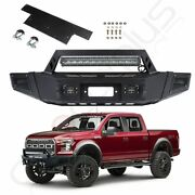 Steel Textured Black Front Bumper W/ Led Light Winch Plate For 12-14 Ford F 150