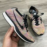 Rare Nike Flyknit Racer Running Shoes Men Size 6 Multi-color Rainbow 526628-004