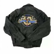 Mickey Mouse Vintage Disney Racing Leather Jacket / Mens Large