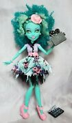 Honey Swamp Doll Frights Camera Action 2013 Monster High Green Hair Pink Shoes