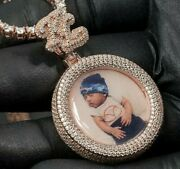 Menand039s Custom Picture With Any Two Letter Pendant 14k Rose Gold Finish 925 Silver
