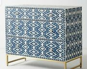 Antique White And Blue Ikat Inlay Chest Of Drawer Wooden And Inlay Chest Drawer