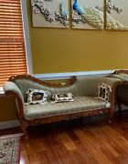 Carved Teak Wooden Sofa With Upholstery Teak Wood Diwan Wooden Chaise
