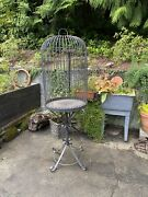 Large 6 Foot Wrought Iron Bird Cage Pedestal Hand Made Mexico Antique/vintage