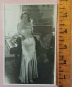Nice Orig Post Card Size 1930s Sexy Woman In Silk Dress Or Negligee Lingerie