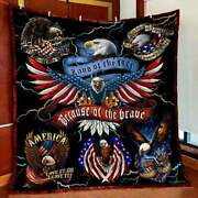 American Eagle Land Of The Free Because Of The Brave Quilt Blanket