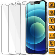 For Iphone 12 Pro Max Clear Tempered Glass Screen Protector+phone Leather Case