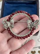 Trifari Brooch Bow Red Berry Rhinestone Pave Vintage 1940s A Philippe Des123273