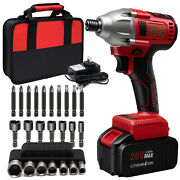 20v Brushless 1/4 Impact Driver With Battery Screwdriver And Nut Driver Bits