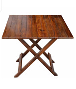 Handcrafted Teak Wood Square Folding Table, Handmade Coffee Table, Wooden Table