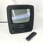 Vintage Daewoo Dvq-9h1fc 9andrdquo Combo Color Tv Vhs Vcr A/v Input W/ Remote Gaming