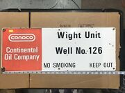 Conoco Inc. Gas / Oil Well No 126 Properties Marker Porcelain Sign 26andrdquox 10andrdquo