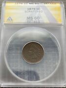 Avc- 1875 Indian Head Cent Anacs Ms60 Details