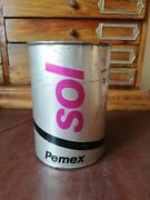 Vintage Petroleos Mexicanos Pemex Oil Mexican Sol Tin Can 1 Lt From 80and039s