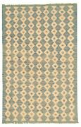 Vintage Hand Woven Carpet 4and0390 X 6and0393 Wool Kilim Area Rug