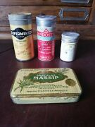 Antique Vintage Mexican 4 Dif Apothecary Tin Box Medicine Medical From 30's-50's