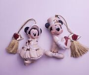Disney Christmas Ornament Duo Mickey And Minnie In Victorian Costumes Skating