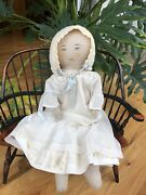 Rare Early Primitive Moravian Rag Doll - Polly Heckewelder Doll Beautiful