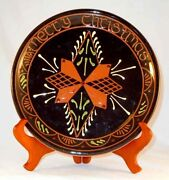 1995 Breininger Glazed And Sgraffito Redware Plate Moravian Style Merry Christmas