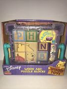 Fisher Price Disney Winnie The Pooh Wood Abc Puzzle Blocks And Basket 2001 New