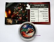 2019 Christmas Greetings Canadian Colored Maple Leaf 1oz Silver Bullion Coin