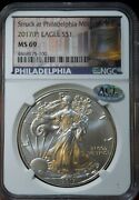 2017p Struck Philadelphia Us Silver Eagle 1 Coin Liberty Bell Label Ngc Ms69