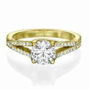 1 1/2 Ct Diamond Engagement Ring Round Cut F/si1 14k Yellow Gold Size Selectable