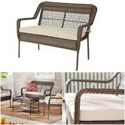 Memorial Day Resin Wicker Loveseat With Tan Cushion - Outdoor Patio Furniture
