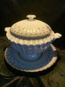 Fleur De Lys Gold Spode Bone China Large Tureen And Lid Gold W/ 12in Underplate