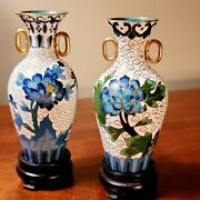 Antique Chinese Pair Of Miniature Cloisonné Vases Blue, Green And White On Stands