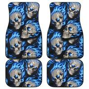 Set Of 4pcs Awesome Blue Gothic Flaming Skull Car Mats Day Of The Dead Floor Mat