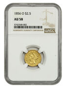 1856-o 2 1/2 Ngc Au58 - 2.50 Liberty Gold Coin - Underrated O-mint