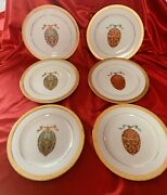 """6 Gold Buffet Royal Gallery Red And Green Faberge Egg Gold Rim 8.5"""" Plate 1991"""