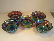 Scarce Set Of 5 Antique Imperial Purple Flute Pattern Carnival Glass Berry Bowls