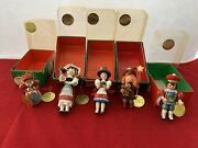 Vintage Sears Christmas Around The World Wooden Ornaments Set Of Five